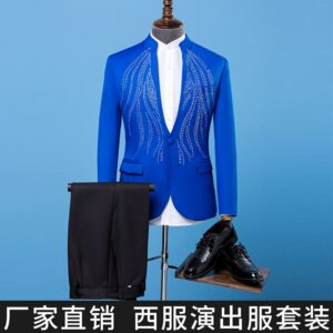 BO new 2019 male singer host blue suit of cultivate one's morality MC chorus stage studio sequins costumes