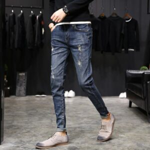 New Casual European American Style Jeans Luxury Denim Trousers Slim Straight Deep Blue Slim Fit Straight High Stretch Feet Skin