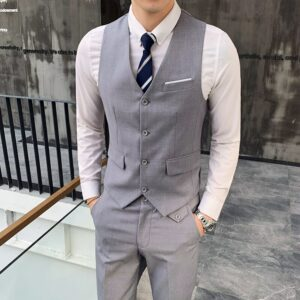 ( Vest + Pants ) Fashion Boutique Cotton Solid Color Men Casual Business Suit Vest and Pants Groom Lake Blue Dress Vest Trousers