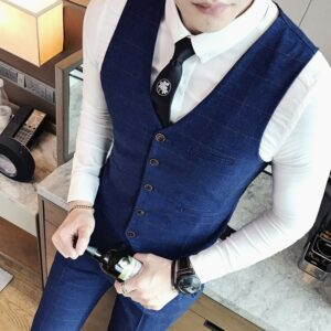 ( 1 Piece Vest) Mens Fashion Boutique Plaid Business Casual Suit Vests Male High-end Brand Wedding Dress Suit Vest Men Waistcoat