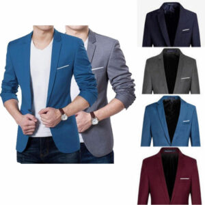 Mens Korean Slim Fit Fashion One Cotton Blazer Suit Jacket Black Blue Plus Size M to 3XL Male Blazers Mens Coat Wedding