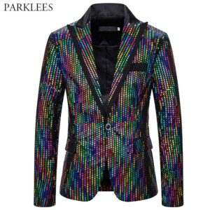 Shiny Mens Sequin Blazer Colorful Glitter Men Blazer Fashion Men Dress Jacket Nightclub Party Stage Dance Disco Festival Hombre