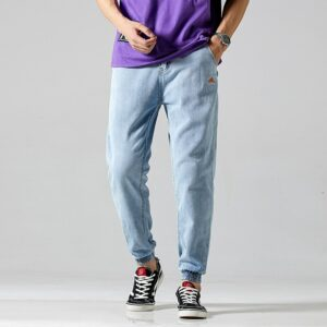 #1417 Summer Light Blue Jeans Men Pencil Jeans Regular Fit Men's Jeans Fashion Casual Streetwear Jeans Biker Men