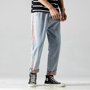 #1420 Light Blue Denim Jeans Men Side Stripe Spliced Hip Hop Jeans Men Casual Streetwear Jeans For Man Straight Biker Jeans