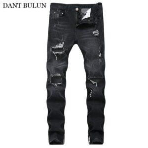 Mens Ripped Distressed Destroyed Hip Hop Trousers Stretchy Denim Pants Slim Skinny Jeans Straight Men Destroyed Denim Trousers