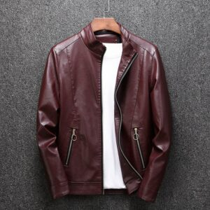 2020 Autumn Men's Stand Collar PU Leather Shirred Fashionable Urban Leisure Locomotive Leather Jacket