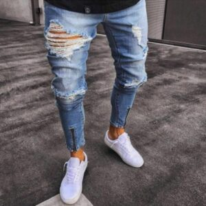 PADEGAO male hiphop Ripped hole jeans blue soft denim ankle length jeans trousers Gloria Jeans Zipper hole moto biker jeans 3xl