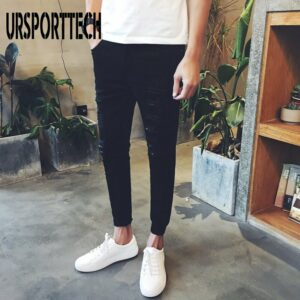 URSPORTTECH Cotton Skinny Jeans Men Pencil Pants Hole Cool Trousers for Guys 2019 Summer Fashion Ripped Jeans for Men Plus Size