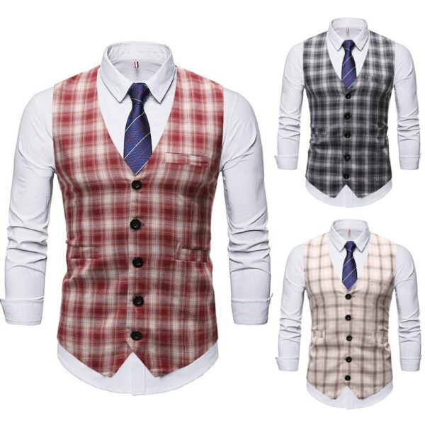 Mens Vests New Fashion Trend Plaid Vest Men Slim Wedding Casual Business Vest Waistcoat Men