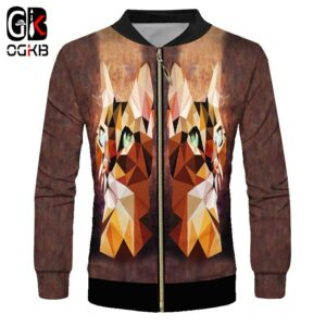 OGKB Coat Male Fashion Full Sleeve 3D Zipper Jackets Printing Diamond Cat Streetwear Big Size Habiliment Man Autumn Winter