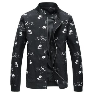 2018 New Mens Jacket Plus size Floral Jacket Men Slim Fit  Floral Printed Stand Collar Jacket Casual Bomber Jacket Men  6XL