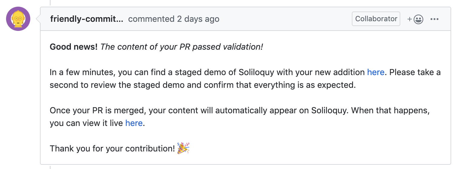 Screenshot of GitHub bot commenting on a Pull Request