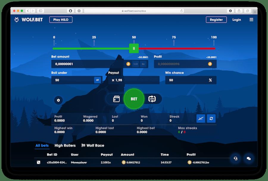 screenshot of satoshi gambling dice game on wolf.bet