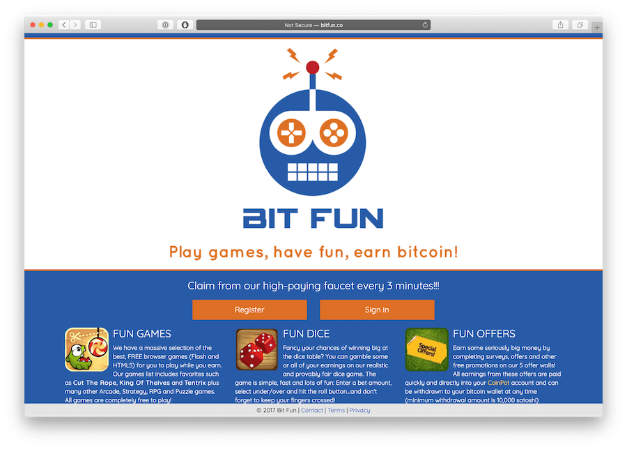 bitfun.co is a website offering a high paying Bitcoin faucet
