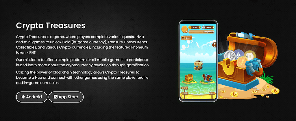 crypto treasures is a game developed by Phoneum
