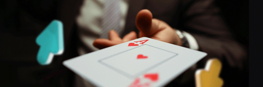 gambler with an ace playing at high low card game
