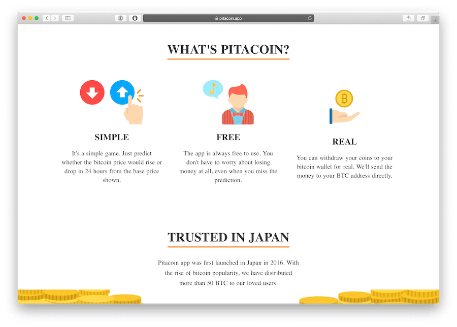 pitacoin is a bitcoin reward game famous in Japan