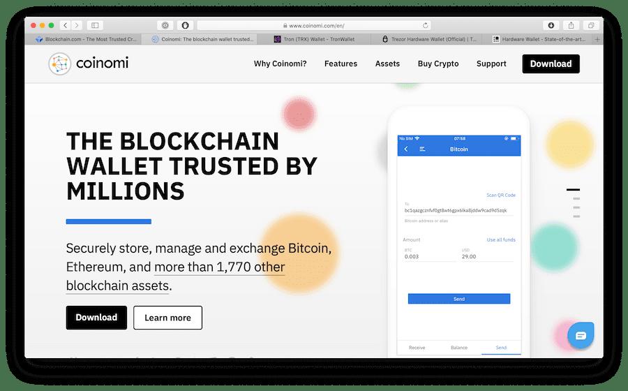 screenshot of coinomi bitcoin wallet