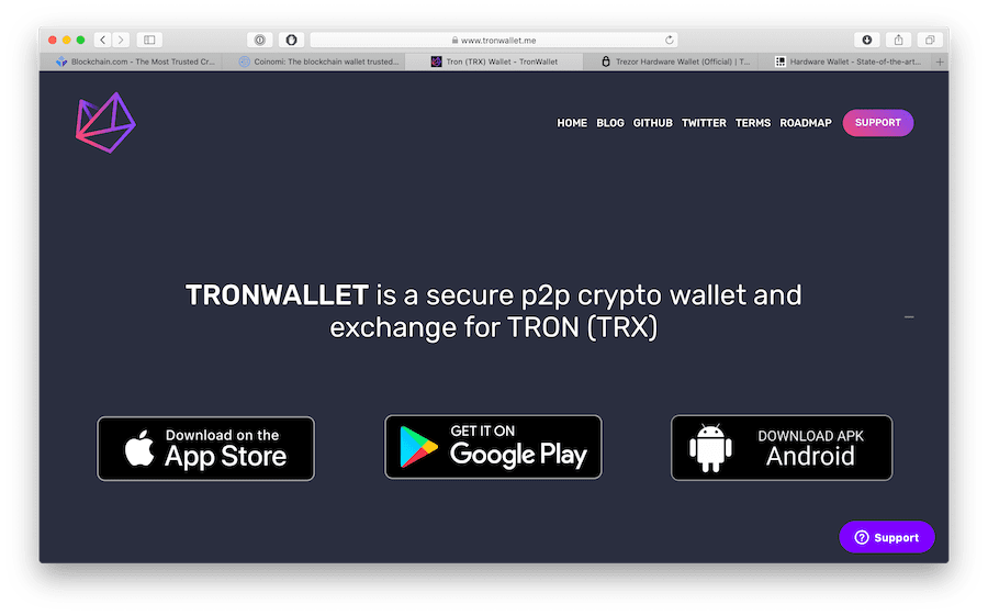 tronwallet offers a variety of tokens from the tron ecosystem