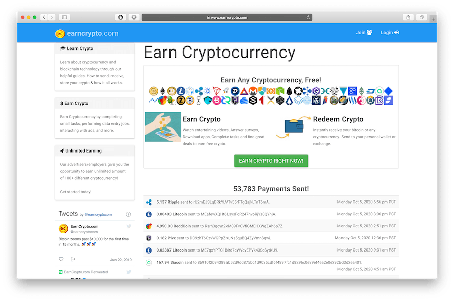 earncrypto.com is a faucet including xrp as an option