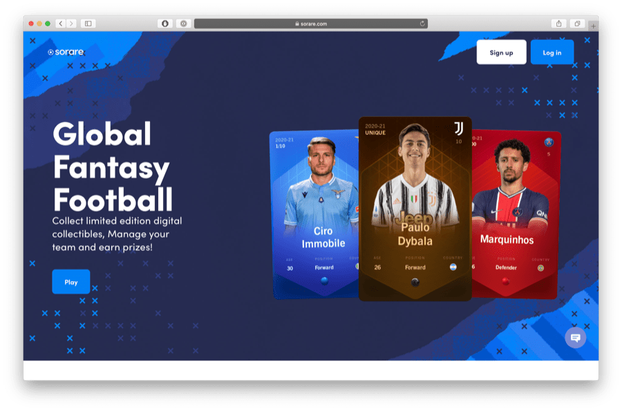 sorare is a football card ethereum game