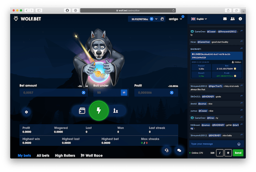 wolf.bet flashbet feature animation for dice gambling games list