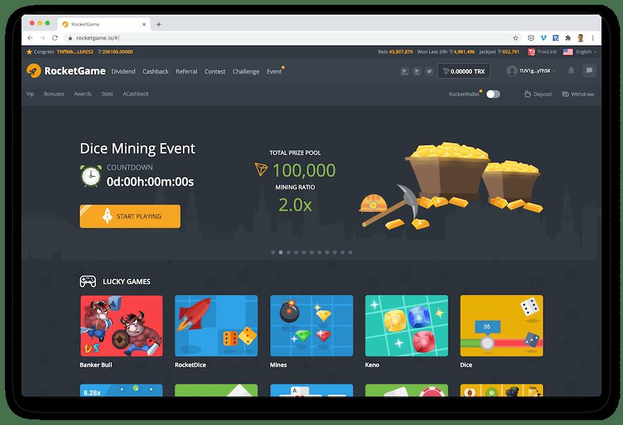 rocketgame offers real trx gambling