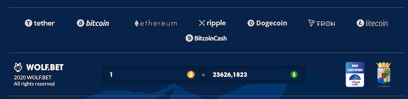 cryptocurrencies used at wolf.bet