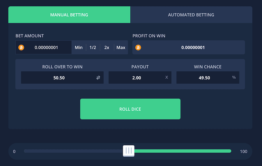dice game at luckyfish to play with instant bitcoin withdrawal