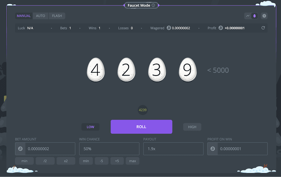 duckdice game is unique with eggs and offers instant payouts