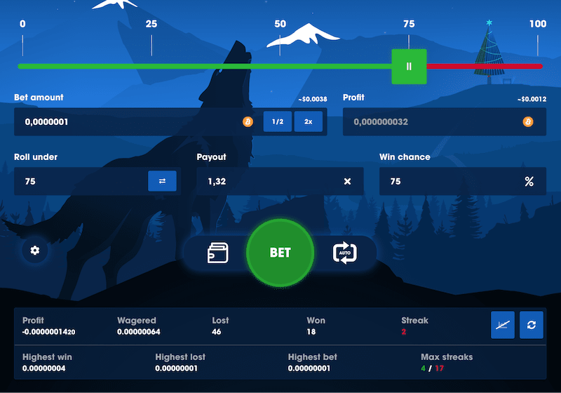 wolf.bet dice is one of the best sites for crypto gambling with bitcoin faucet