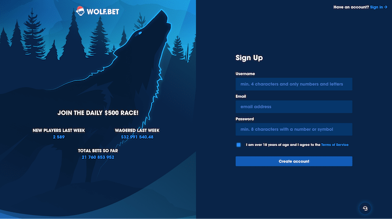 wolf.bet registration page is easy to use