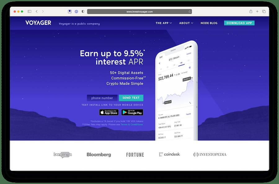 voyager is an investing platform for defi