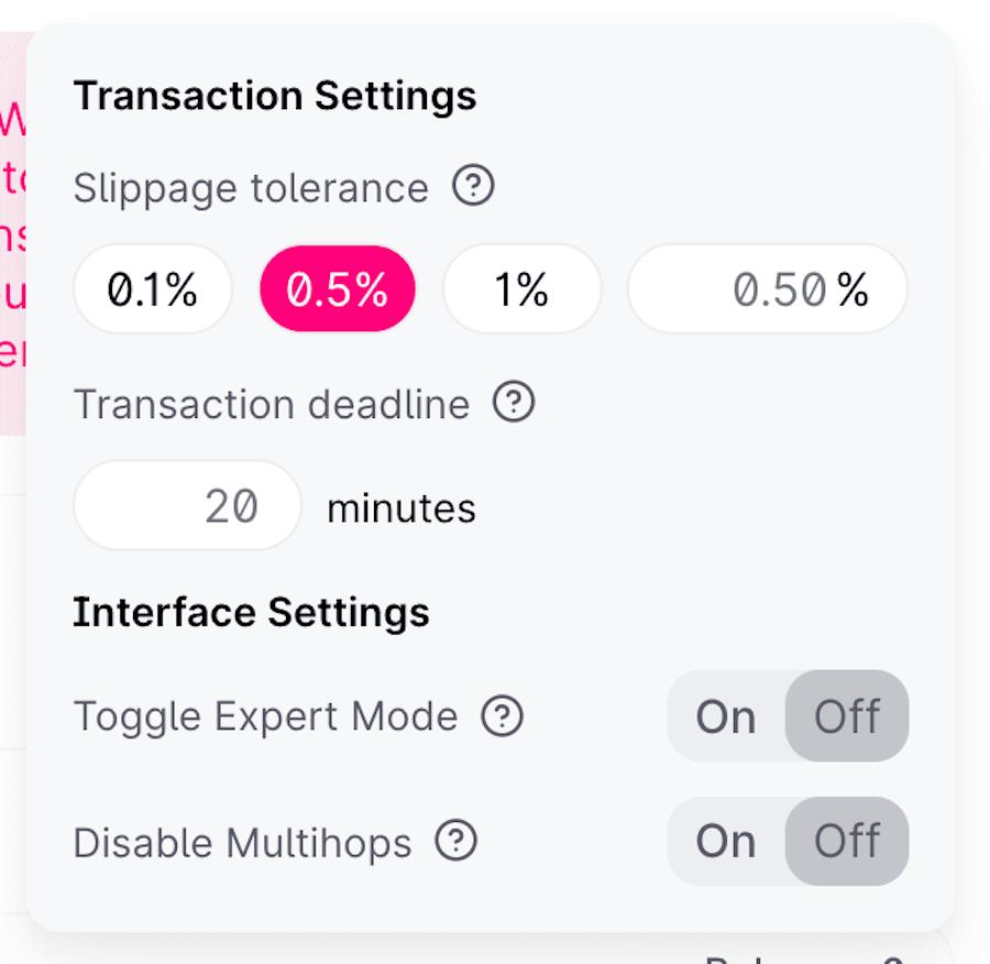 uniswap pools transaction settings