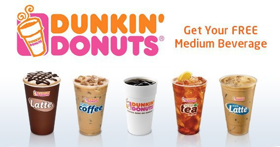 FREE Medium Beverage At Dunkin' Donuts