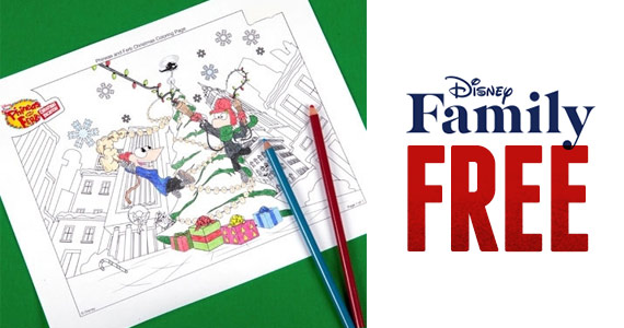 Free Phineas and Ferb Christmas Coloring Page