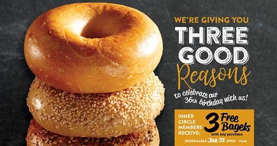 3 Free Bruegger's Bagels – TODAY ONLY!