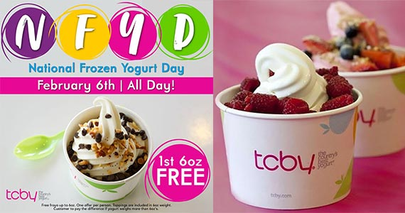 Free TCBY Frozen Yogurt February 6th