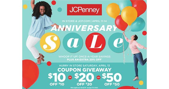 Get $10, $20 or $50 off at JC Penney (April 13th)