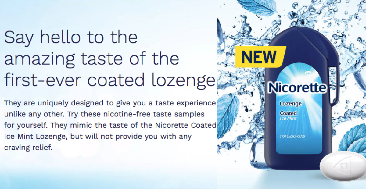 Free Nicorette Coated Ice Mint Lozenge Sample
