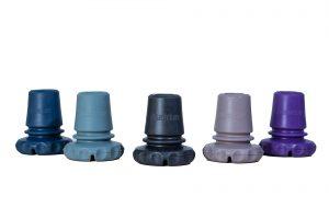 Cinco Ponteiras Articuladas Mercur de cores diferentes estão dispostas lado a lado.