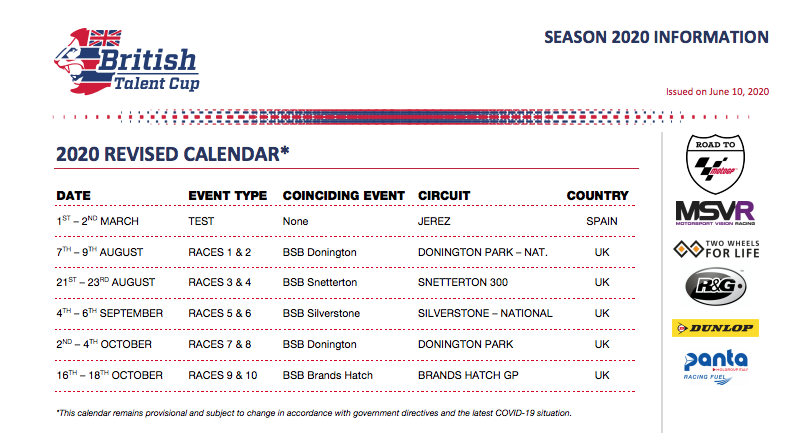 New Provisional British Talent Cup Calendar Announced