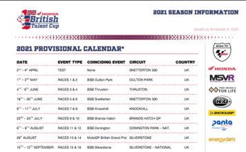 Provisional 2021 Honda British Talent Cup Calendar Released