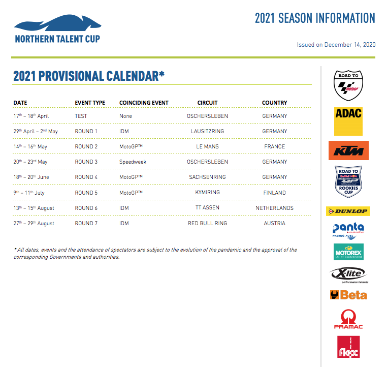 Provisional 2021 Northern Talent Cup Calendar Announced