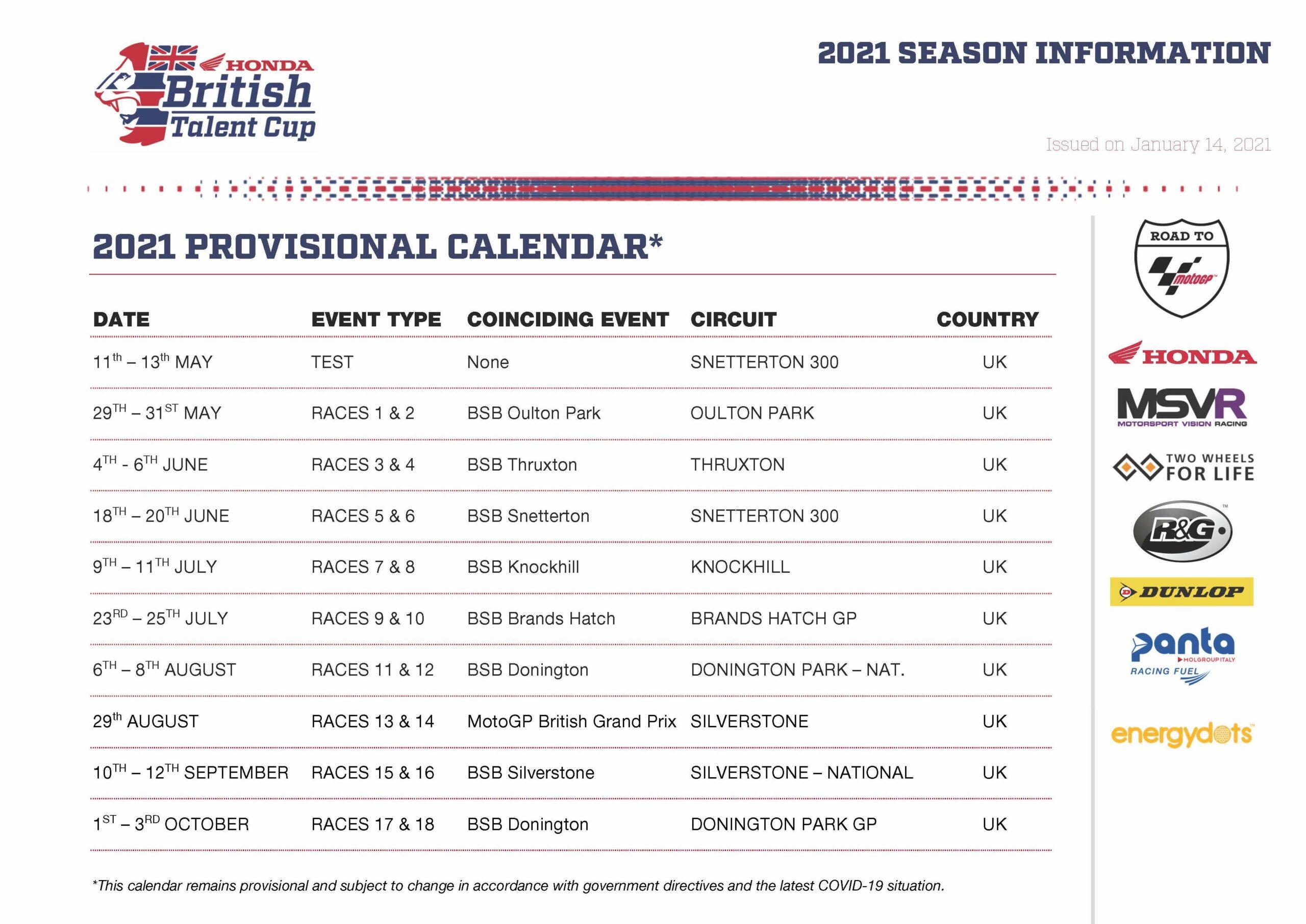 Provisional 2021 Honda British Talent Cup Calendar Updated