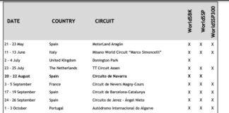2021 Motul Worldsbk Provisional Calendar Update