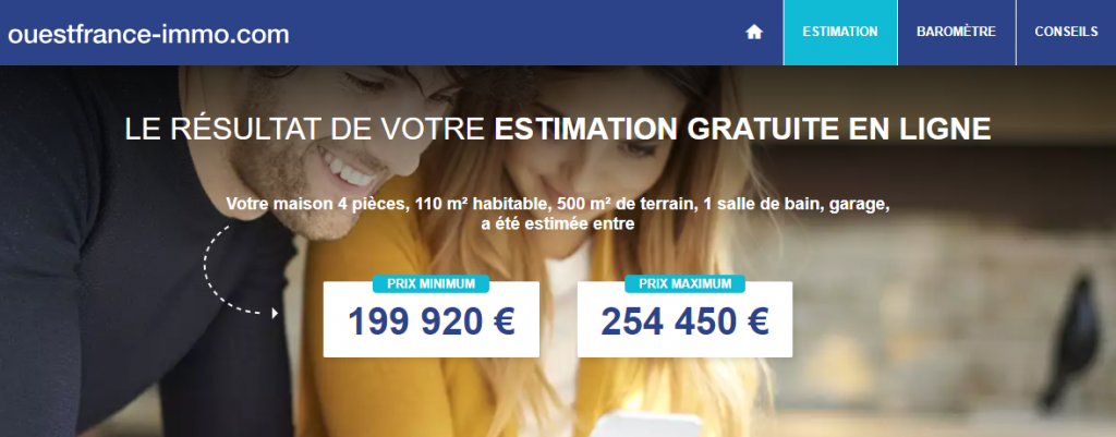 Interface outil estimation immobiliere