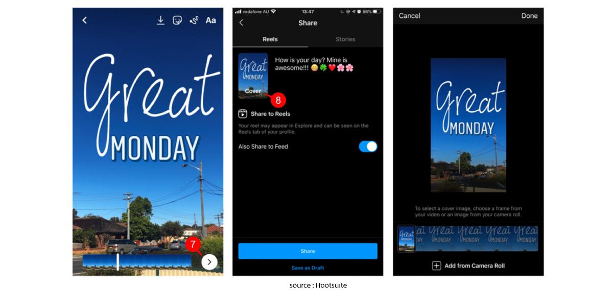 เริ่มแรกเลย ถ้าคุณต้องการที่จะใช้งานเจ้า Reels คุณจะต้องไปที่หน้า Instagram Story และเลื่อนไปที่โหมดสุดท้ายที่ชื่อว่า Reels หลังจากนั้นคุณก็จะสามารถใช้งาน Instagram Reels ได้ทันที!