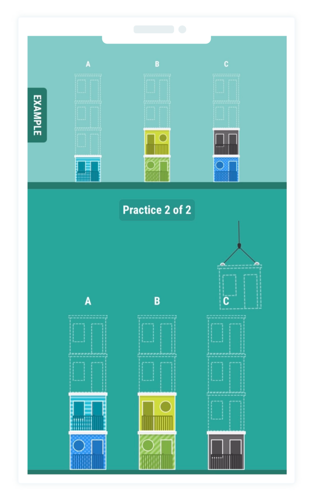 Shows an illustration of a gamified assessment within the Equalture platform