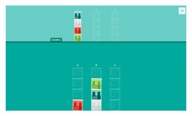 This is a visual of a game that measures problem-solving skills and critical thinking.